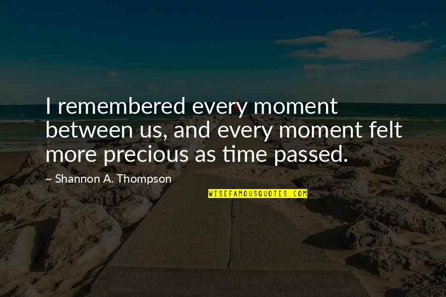 Cherish Time Quotes By Shannon A. Thompson: I remembered every moment between us, and every