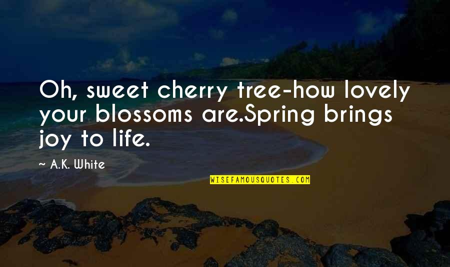 Cherry Tree Quotes By A.K. White: Oh, sweet cherry tree-how lovely your blossoms are.Spring
