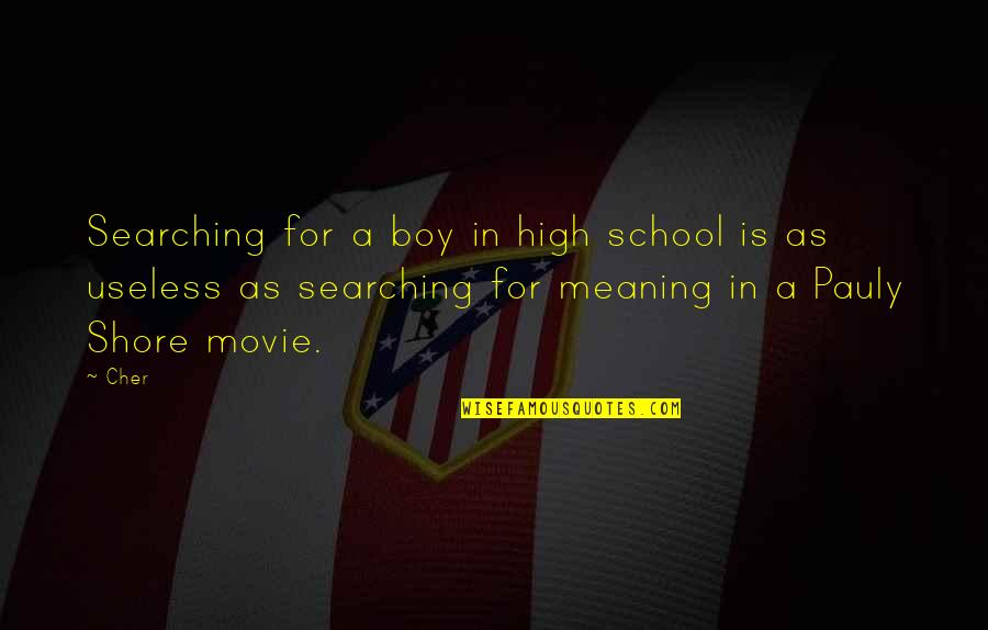 Cher's Quotes By Cher: Searching for a boy in high school is