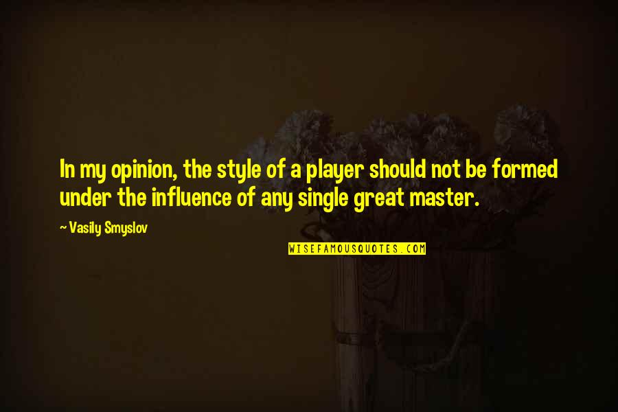 Chess Player Quotes By Vasily Smyslov: In my opinion, the style of a player