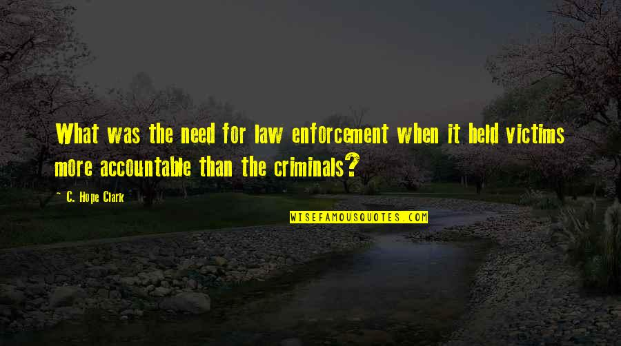 Chhath Puja Wishes Quotes By C. Hope Clark: What was the need for law enforcement when