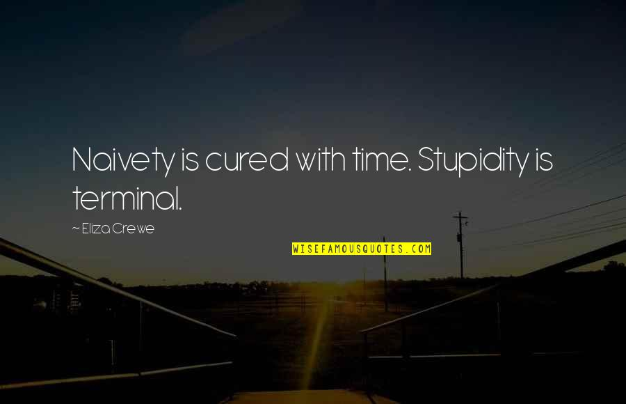 Chi Quotes By Eliza Crewe: Naivety is cured with time. Stupidity is terminal.