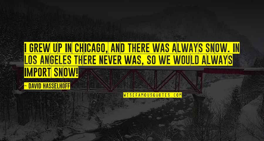 Chicago Snow Quotes By David Hasselhoff: I grew up in Chicago, and there was