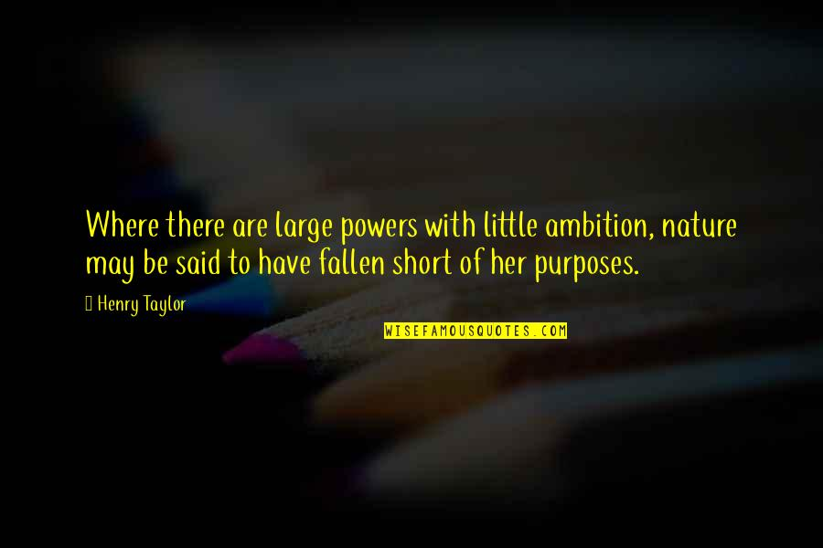 Chief Bromden Hallucination Quotes By Henry Taylor: Where there are large powers with little ambition,