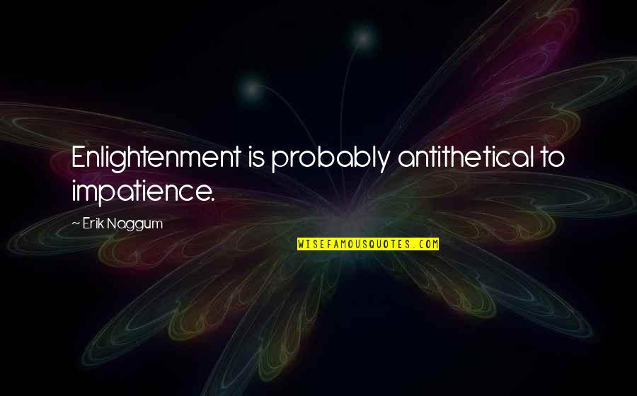 Childhood Buddies Quotes By Erik Naggum: Enlightenment is probably antithetical to impatience.