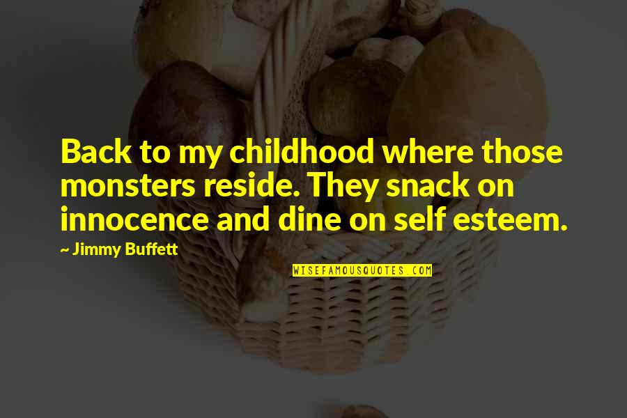 Childhood Innocence Quotes By Jimmy Buffett: Back to my childhood where those monsters reside.