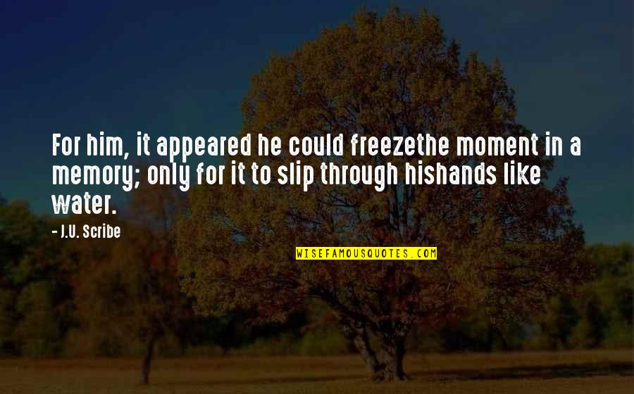Childhood Memory Quotes By J.U. Scribe: For him, it appeared he could freezethe moment