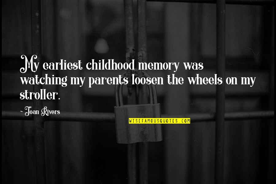 Childhood Memory Quotes By Joan Rivers: My earliest childhood memory was watching my parents
