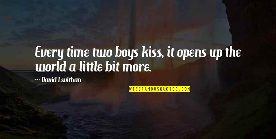 Children's Blizzard Quotes By David Levithan: Every time two boys kiss, it opens up