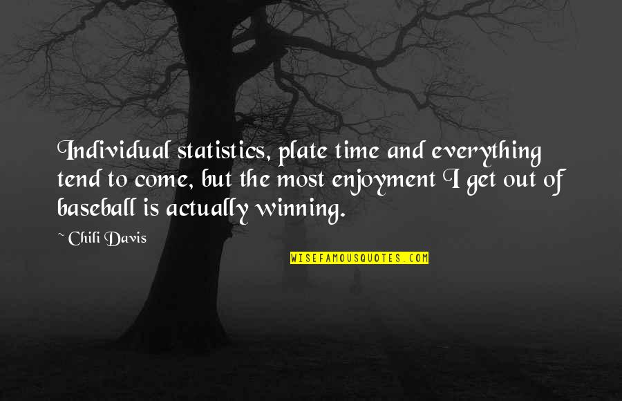 Chili's Quotes By Chili Davis: Individual statistics, plate time and everything tend to