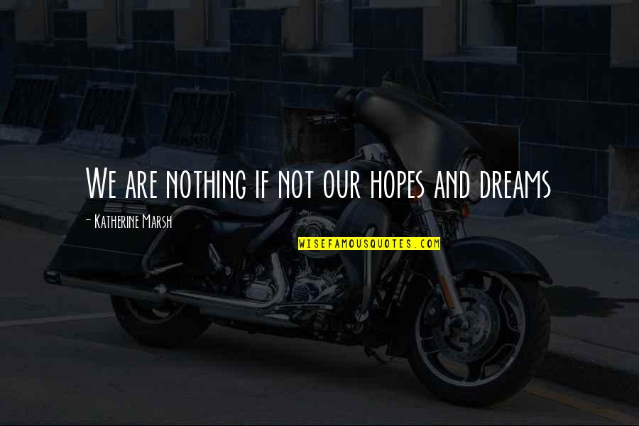 Chique Quotes By Katherine Marsh: We are nothing if not our hopes and