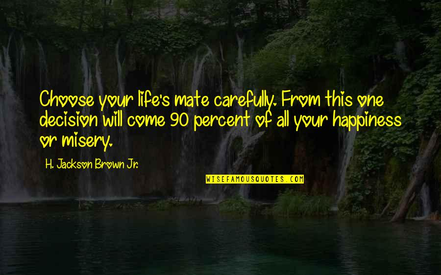 Choose Happiness Quotes By H. Jackson Brown Jr.: Choose your life's mate carefully. From this one