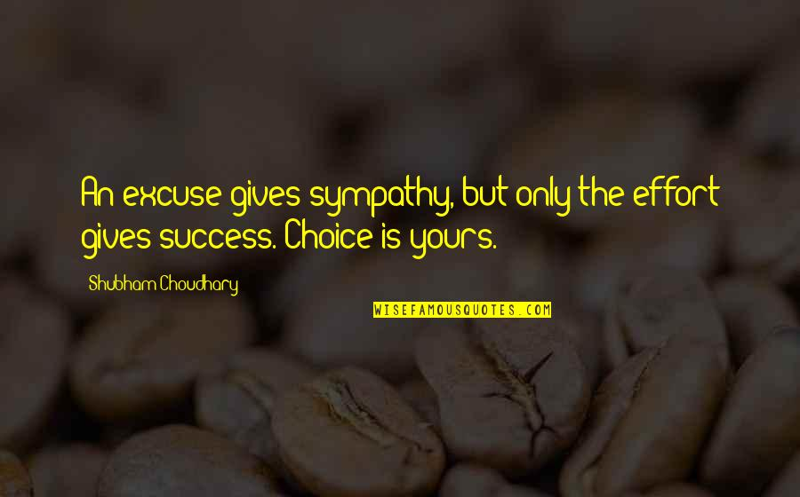 Choudhary Quotes By Shubham Choudhary: An excuse gives sympathy, but only the effort
