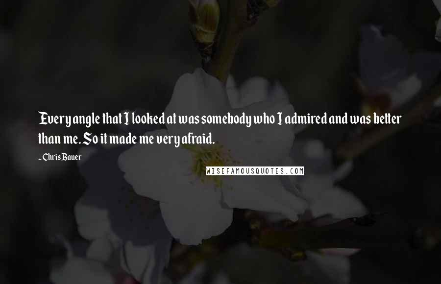 Chris Bauer quotes: Every angle that I looked at was somebody who I admired and was better than me. So it made me very afraid.