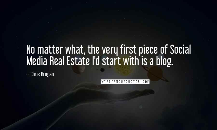 Chris Brogan quotes: No matter what, the very first piece of Social Media Real Estate I'd start with is a blog.