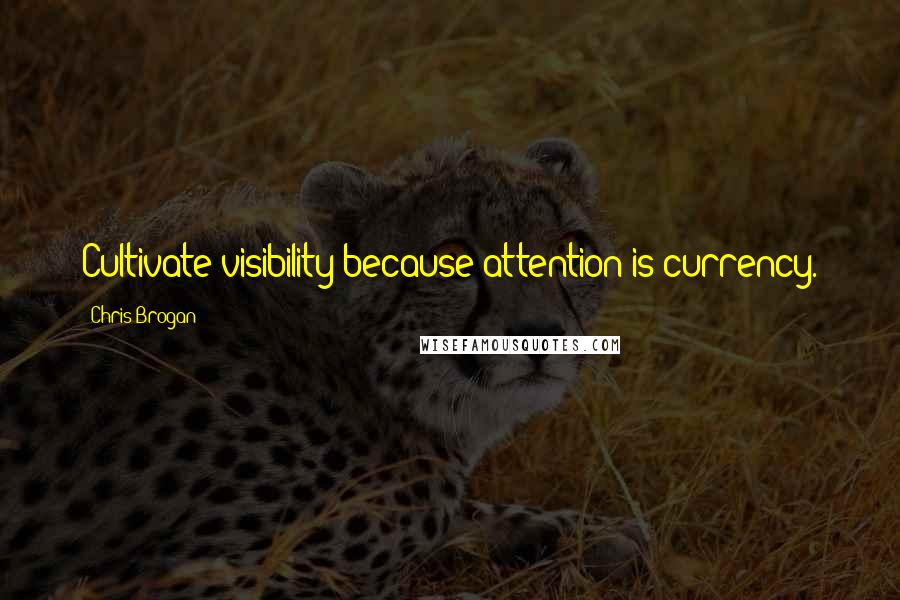 Chris Brogan quotes: Cultivate visibility because attention is currency.