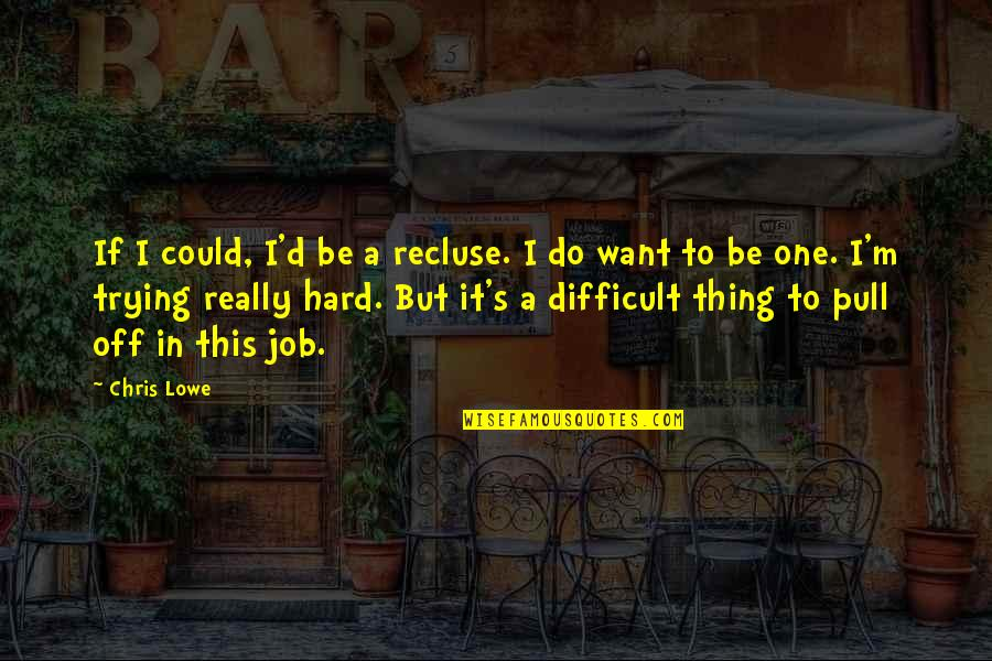 Chris D'elia Quotes By Chris Lowe: If I could, I'd be a recluse. I