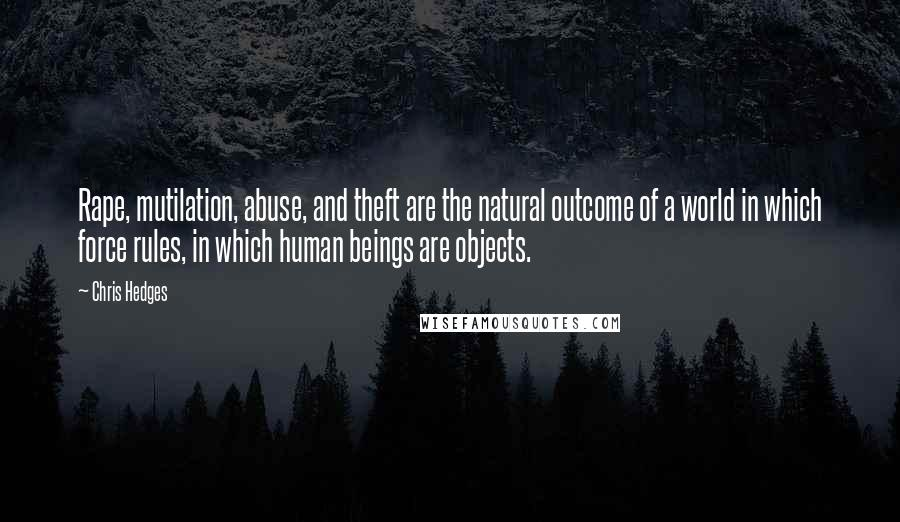Chris Hedges quotes: Rape, mutilation, abuse, and theft are the natural outcome of a world in which force rules, in which human beings are objects.