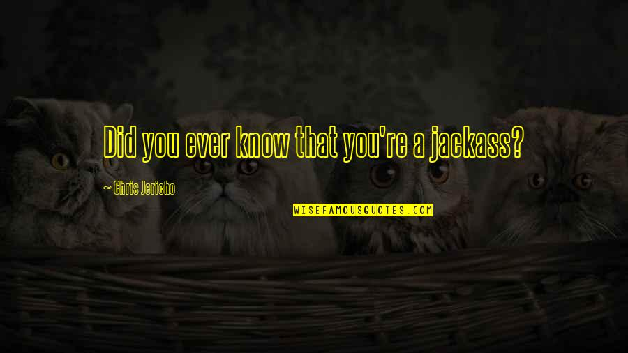 Chris Jericho Quotes By Chris Jericho: Did you ever know that you're a jackass?