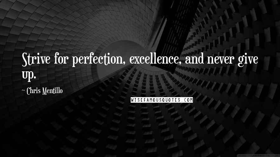 Chris Mentillo quotes: Strive for perfection, excellence, and never give up.