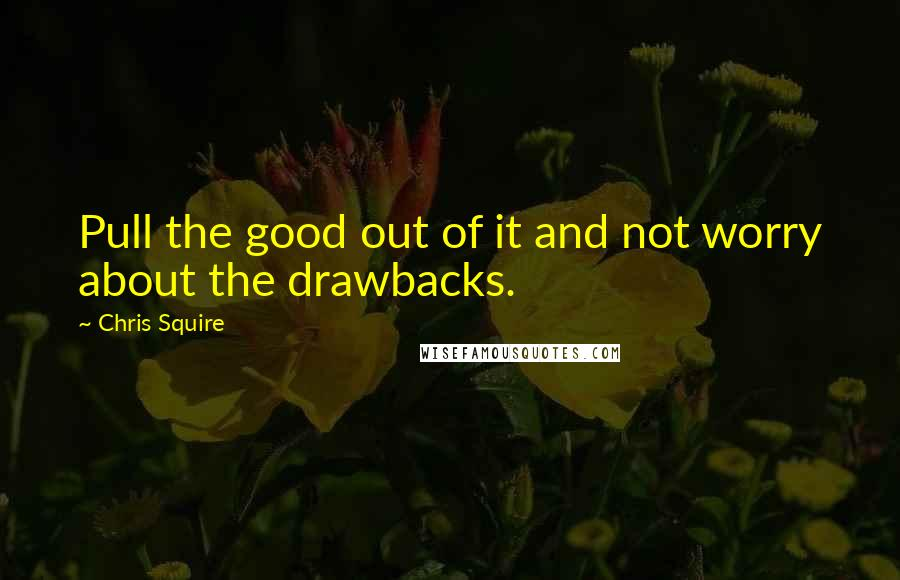 Chris Squire quotes: Pull the good out of it and not worry about the drawbacks.