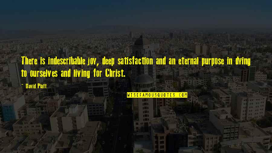 Christ Dying For Us Quotes By David Platt: There is indescribable joy, deep satisfaction and an