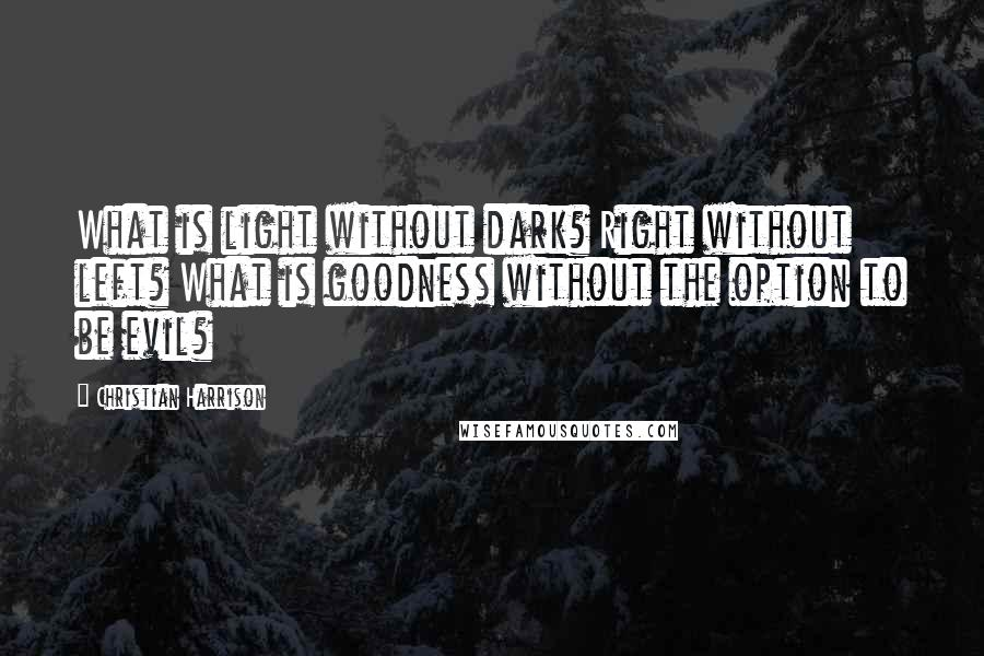Christian Harrison quotes: What is light without dark? Right without left? What is goodness without the option to be evil?