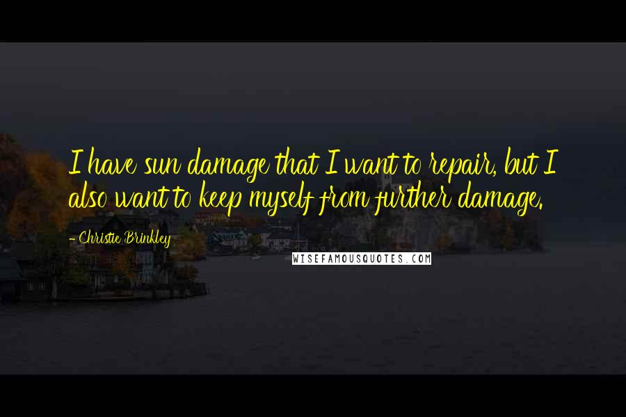 Christie Brinkley quotes: I have sun damage that I want to repair, but I also want to keep myself from further damage.