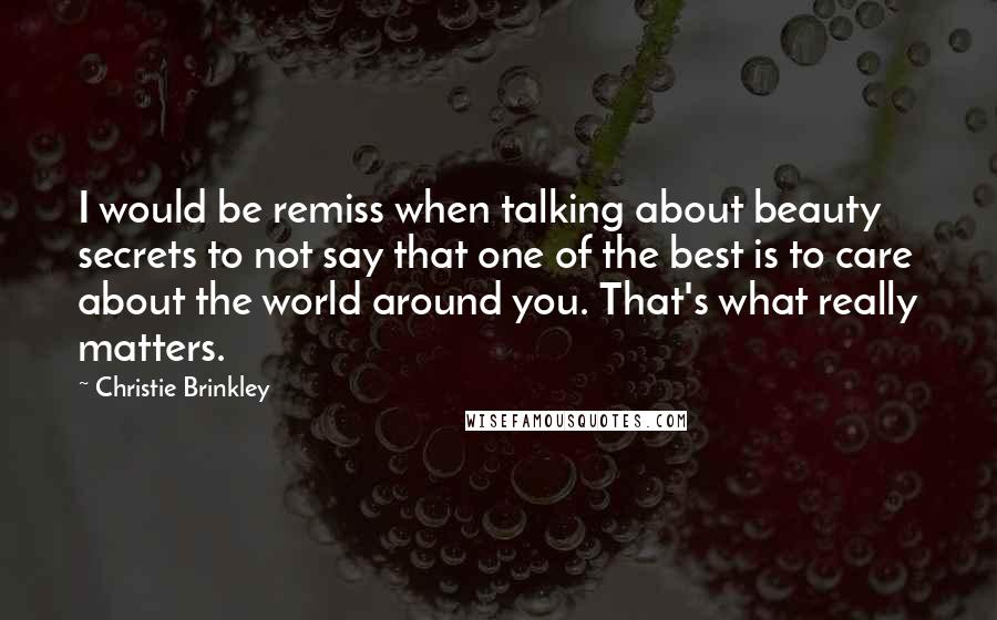 Christie Brinkley quotes: I would be remiss when talking about beauty secrets to not say that one of the best is to care about the world around you. That's what really matters.