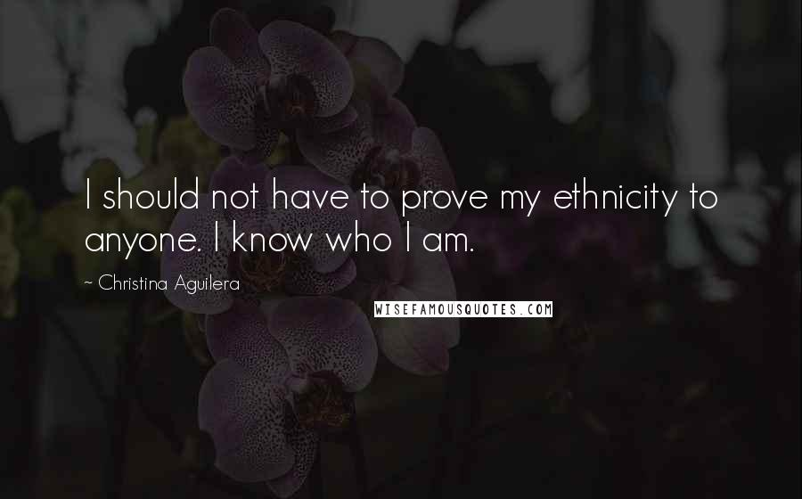 Christina Aguilera quotes: I should not have to prove my ethnicity to anyone. I know who I am.