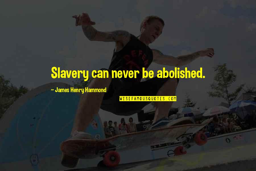 Christmas Dickens Quotes By James Henry Hammond: Slavery can never be abolished.