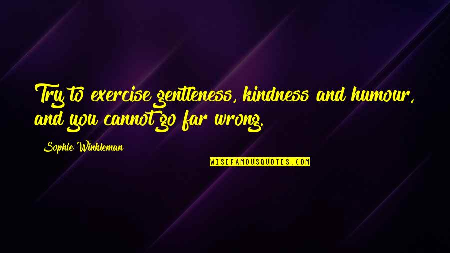 Christmas Time Stress Quotes By Sophie Winkleman: Try to exercise gentleness, kindness and humour, and
