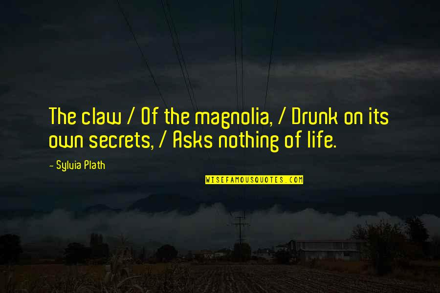 Christopher Browne Quotes By Sylvia Plath: The claw / Of the magnolia, / Drunk