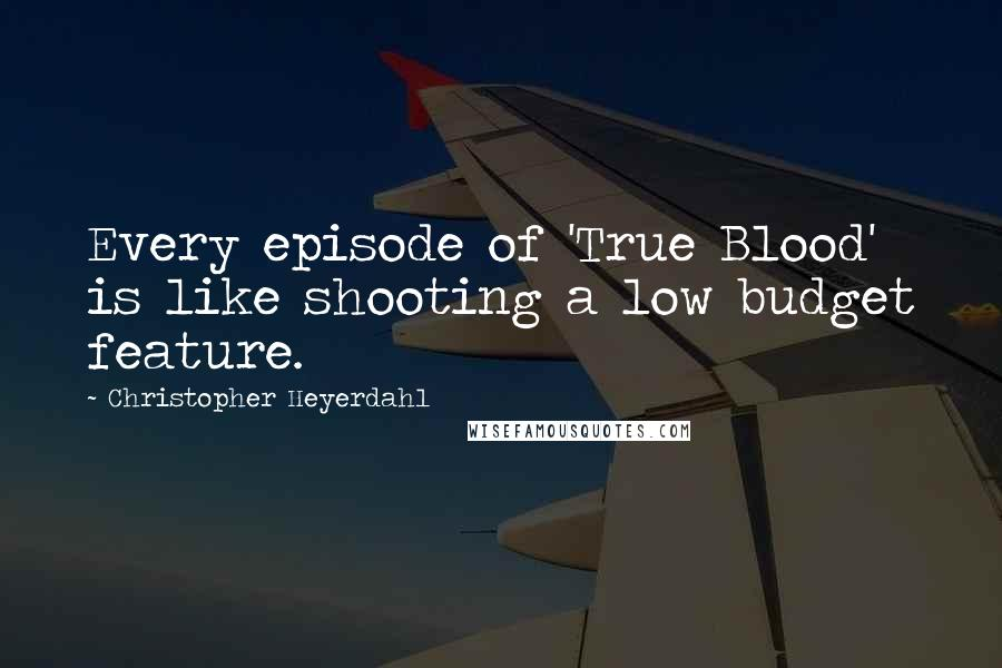 Christopher Heyerdahl quotes: Every episode of 'True Blood' is like shooting a low budget feature.