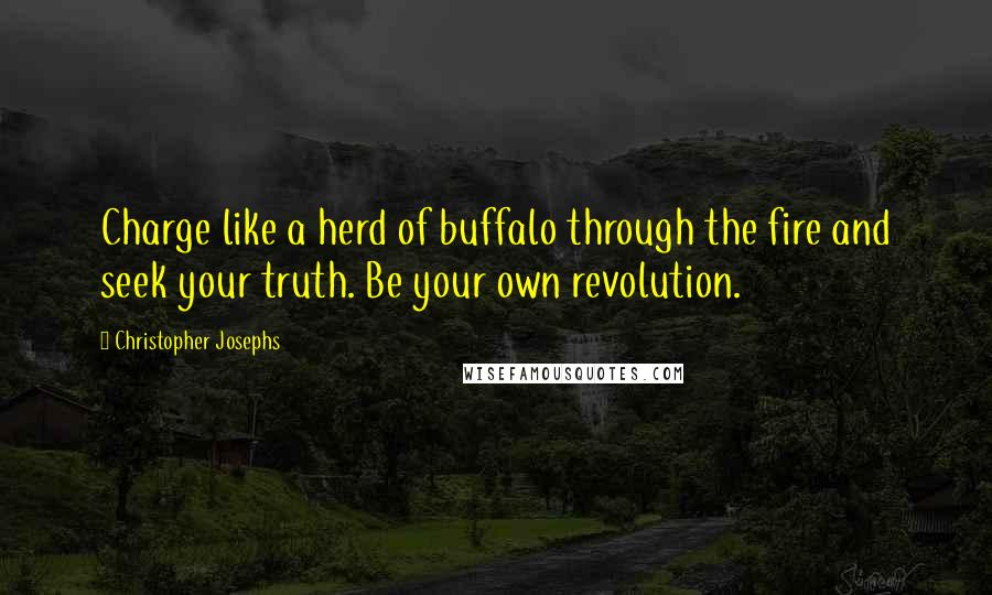 Christopher Josephs quotes: Charge like a herd of buffalo through the fire and seek your truth. Be your own revolution.