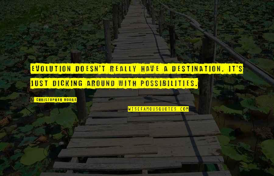 Christopher Moore Quotes By Christopher Moore: Evolution doesn't really have a destination. It's just