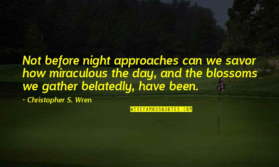 Christopher Wren Quotes By Christopher S. Wren: Not before night approaches can we savor how