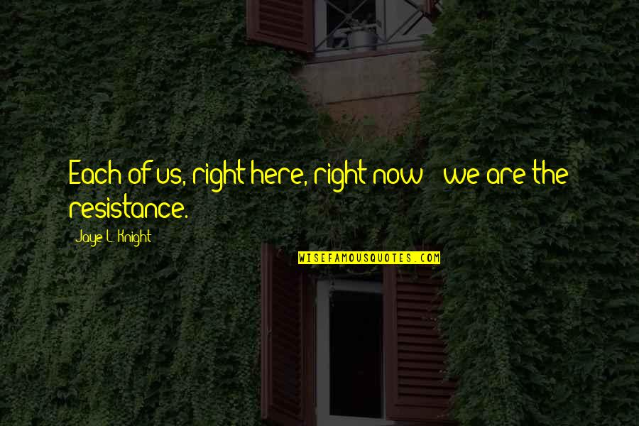Chronicles Quotes By Jaye L. Knight: Each of us, right here, right now -