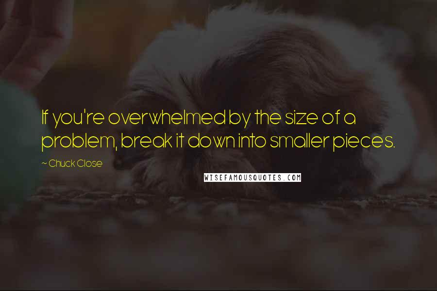Chuck Close quotes: If you're overwhelmed by the size of a problem, break it down into smaller pieces.