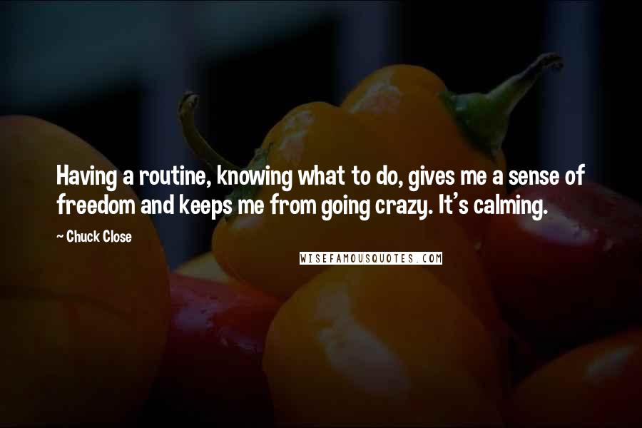 Chuck Close quotes: Having a routine, knowing what to do, gives me a sense of freedom and keeps me from going crazy. It's calming.