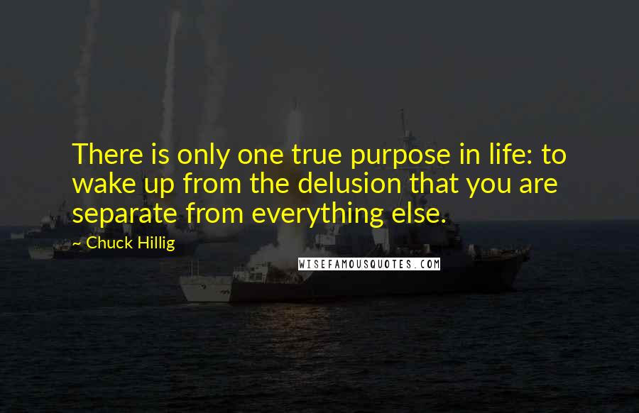 Chuck Hillig quotes: There is only one true purpose in life: to wake up from the delusion that you are separate from everything else.