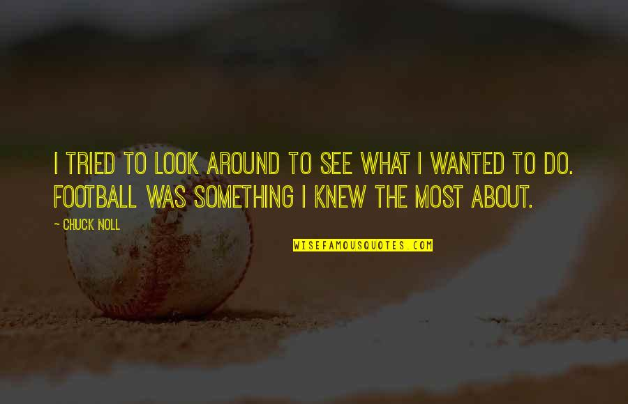 Chuck Noll Quotes By Chuck Noll: I tried to look around to see what
