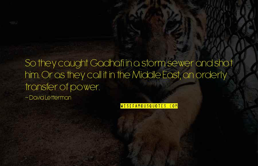 Chuck Noll Quotes By David Letterman: So they caught Gadhafi in a storm sewer