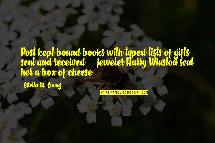 Chung's Quotes By Estella M. Chung: Post kept bound books with typed lists of