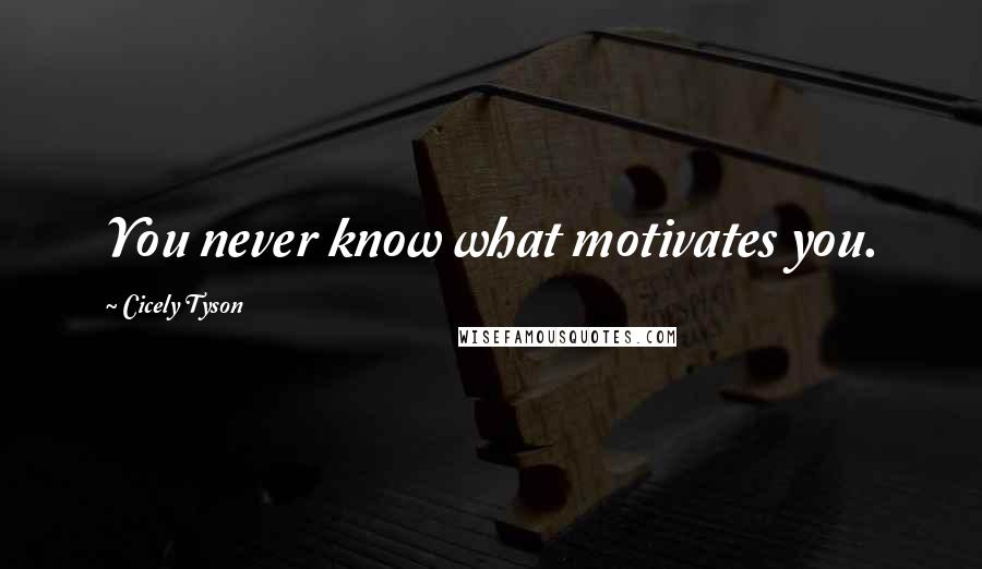 Cicely Tyson quotes: You never know what motivates you.