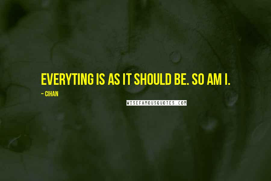 Cihan quotes: Everyting is as it should be. So am I.
