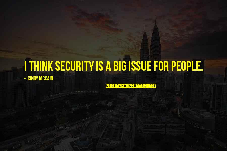 Cindy Mccain Quotes By Cindy McCain: I think security is a big issue for