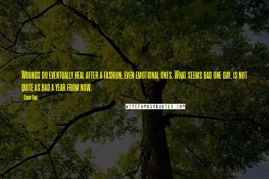 Cindy Vine quotes: Wounds do eventually heal after a fashion, even emotional ones. What seems bad one day, is not quite as bad a year from now.