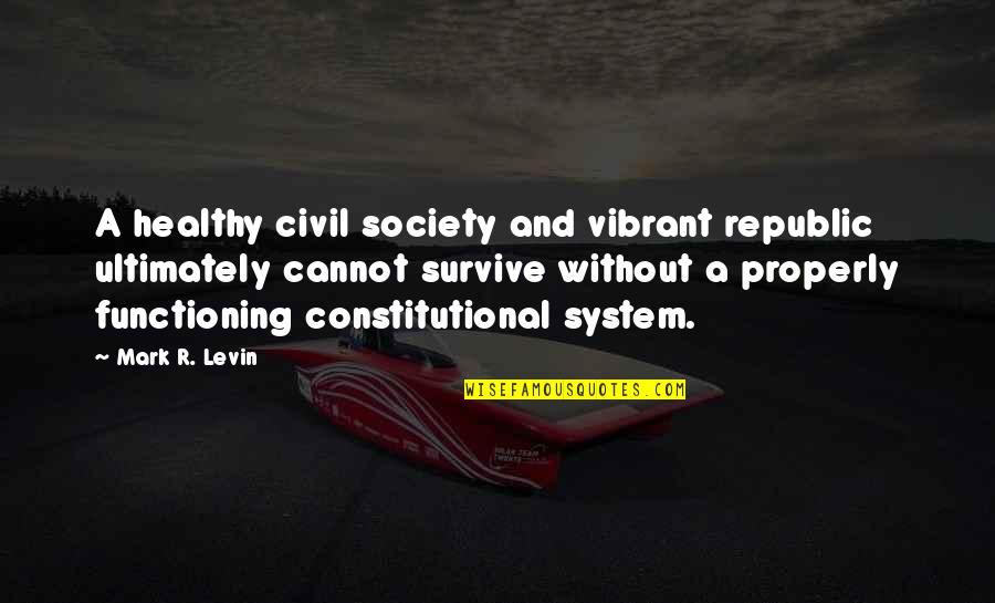 Civil Society Quotes By Mark R. Levin: A healthy civil society and vibrant republic ultimately
