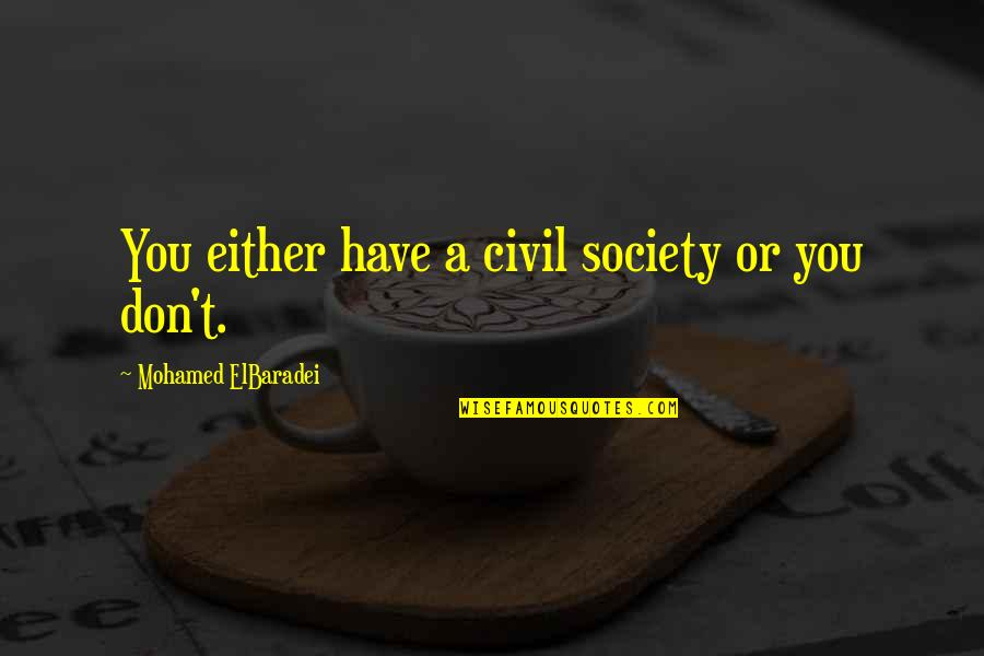 Civil Society Quotes By Mohamed ElBaradei: You either have a civil society or you